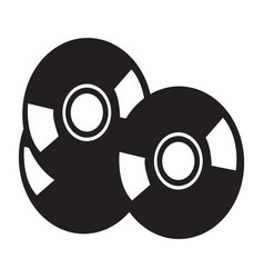 Flat black compact disc icon vector