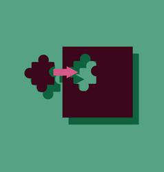 Flat icon design last piece puzzle in sticker vector