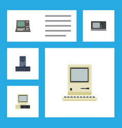 Flat icon laptop set of computing vintage vector