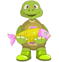 Funny Turtle Fisherman vector image