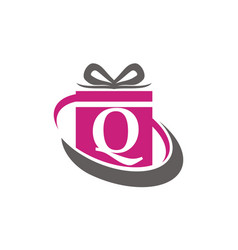 Gift box ribbon letter q vector
