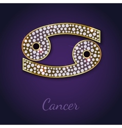 Golden Cancer zodiac signs vector image