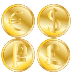 Golden coins of the different countries vector image vector image