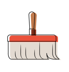 Hand broom with wooden stick in colorful vector