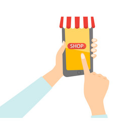 hand holding a smartphone with mobile shopping app vector image vector image