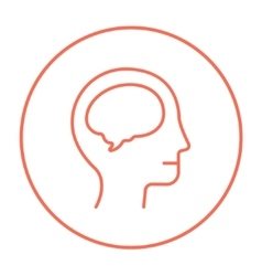 Human head with brain line icon vector image