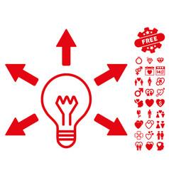 idea bulb icon with valentine bonus vector image