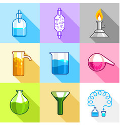 Laboratory experiment icons set flat style vector