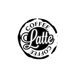 Latte coffee stain badges black and white vector