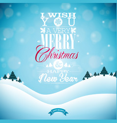 merry christmas with typography and ornament vector image vector image