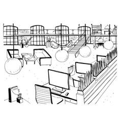 monochrome drawing of interior of open co-working vector image vector image