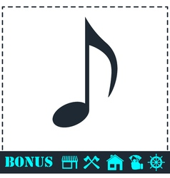 Music note icon flat vector