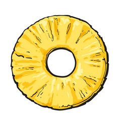 Peeled round pineapple slice with hole in middle vector