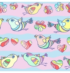 seamless pattern with cartoon birds vector image vector image
