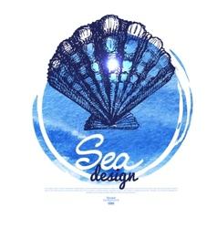 Seashell banner sea nautical design vector