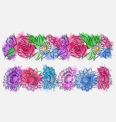 Set of flower brushes with watercolor splashes vector