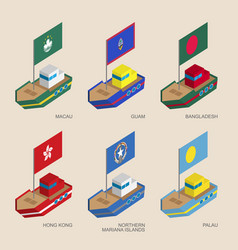 Set of isometric ships with flags of asia vector