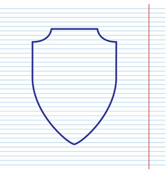 Shield sign navy line icon vector