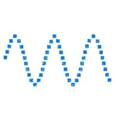 Sinusoid waves grainy texture icon vector