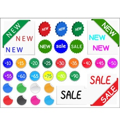 vector set of tags for discount prices vector image