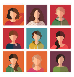 young girls avatar icons set vector image