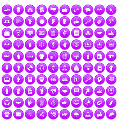 100 different gestures icons set purple vector