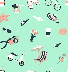 Summer beach party seamless pattern seashells and vector