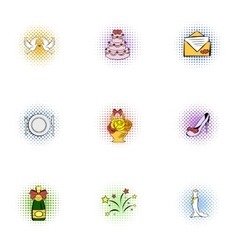 Marriage icons set pop-art style vector