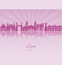 lima skyline in purple radiant orchid vector image