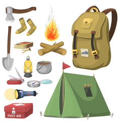 Hiking camping equipment base camp gear and vector
