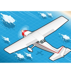 Isometric white plane in flight in rear view vector