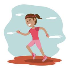 girl runner sport school education vector image