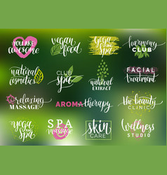 Health and beauty care labels spayoga vector