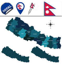 map of nepal with zones vector image