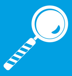 Magnifying glass icon white vector
