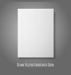 Realistic front white blank hardcover book vector