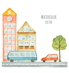 Watercolor elements of urban design houses cars vector