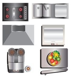 Kitchen equipment top view set 7 vector
