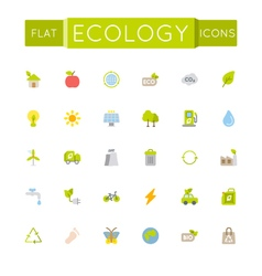 Flat ecology icons vector