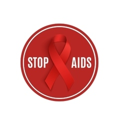 Stop aids sign with red ribbon vector