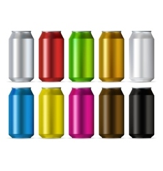 Aluminum cans color set vector