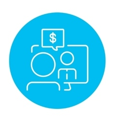 Business video negotiations line icon vector