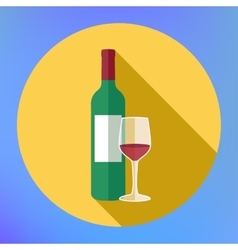 Bottle wine and glass flat icon vector