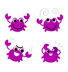 Pink crab in various poses isolated on white vector