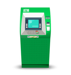 Automatic teller machine isolated on white vector