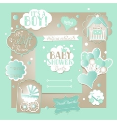 Baby Boy Shower Set with greeting design vector image