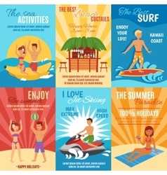 Beach poster set vector
