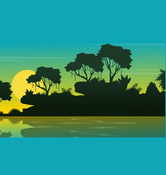 Beauty landscape jungle on the sea silhouette vector