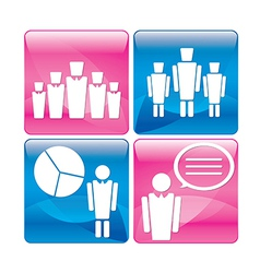 Business people at work icons set vector image