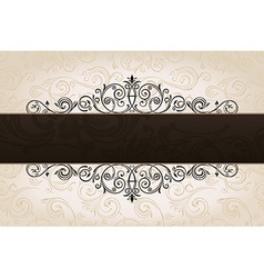 calligraphic brown banner with decorative vector image vector image